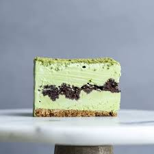 Green Tea Ice Cream Cake-sliced